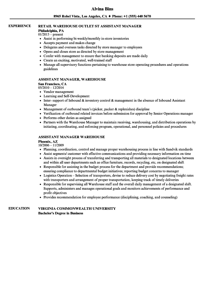 Warehouse Assistant Manager Resume Samples Velvet Jobs