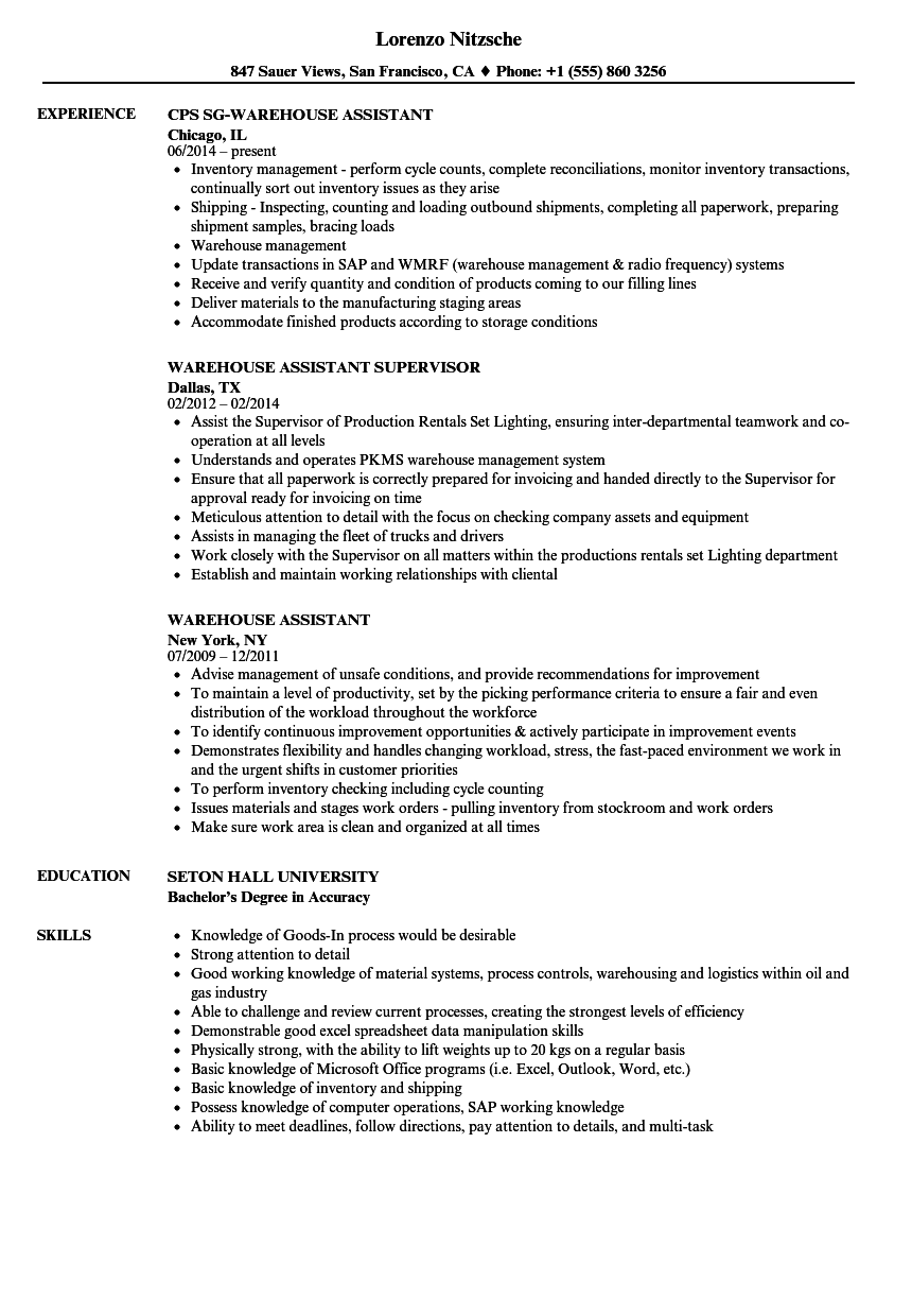 resume Resume For Warehouse Assistant warehouse assistant resume samples velvet jobs download sample as image file