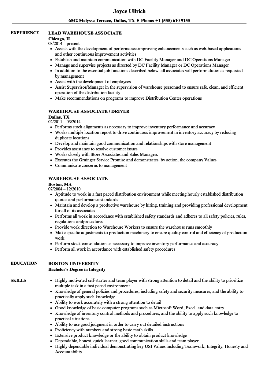 Download Warehouse Associate Resume Sample As Image File