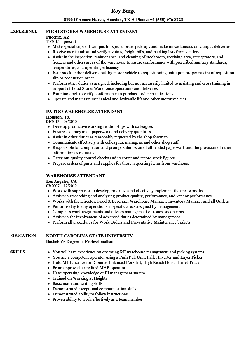 download warehouse attendant resume sample as image file - Warehouse Resume Samples