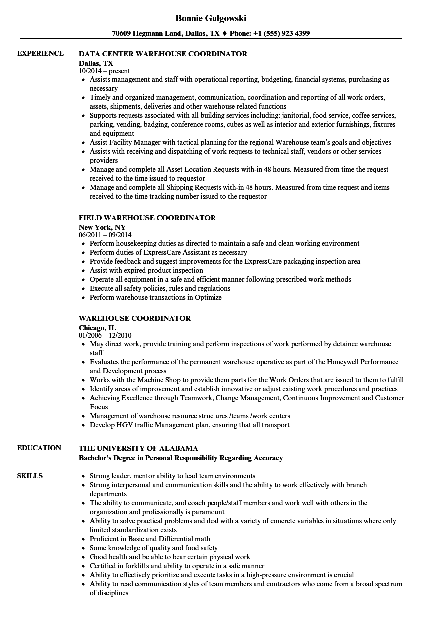 Warehouse Coordinator Resume Samples Velvet Jobs