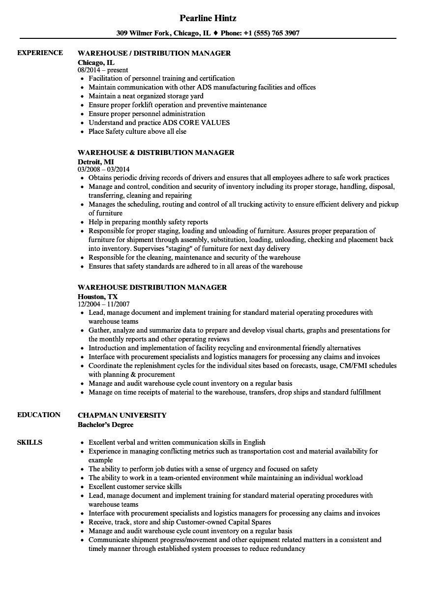 warehouse distribution manager resume samples
