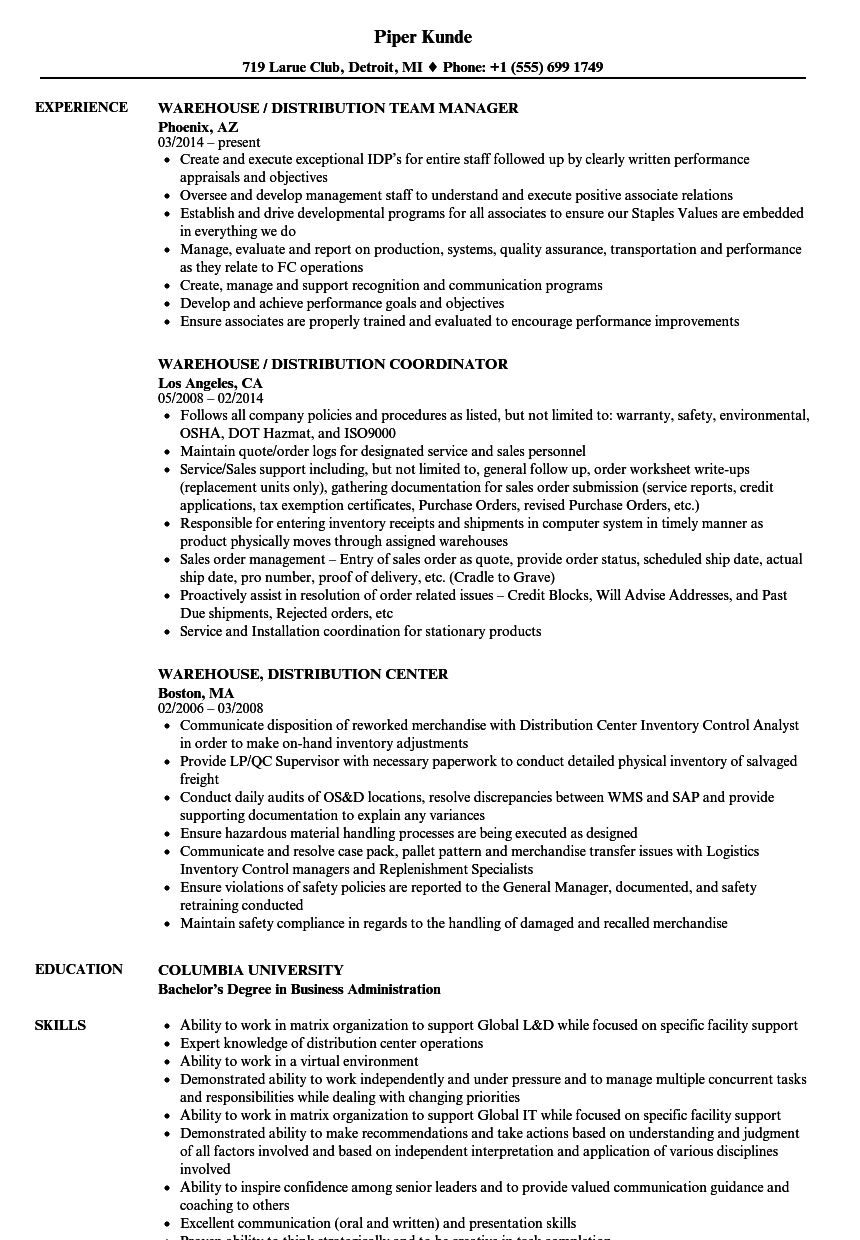 warehouse  distribution resume samples