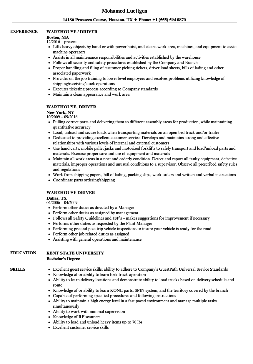download warehouse driver resume sample as image file - Resume For Warehouse