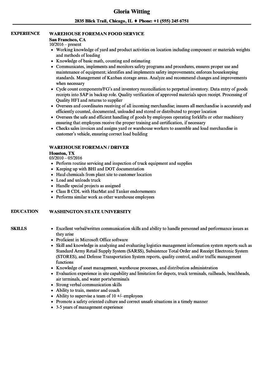 warehouse foreman resume samples