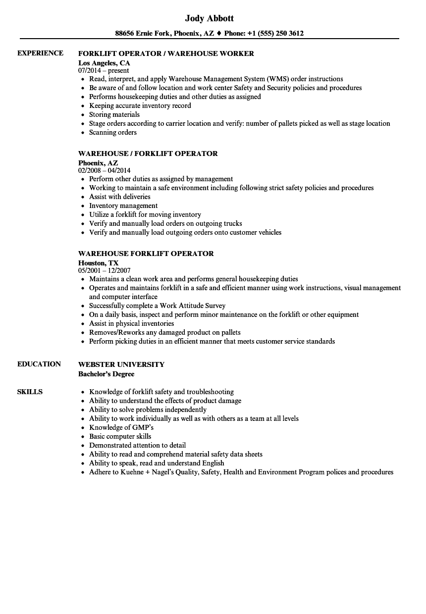 Warehouse Forklift Operator Resume Samples