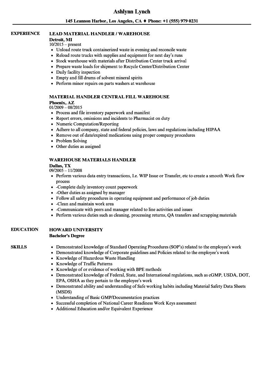 warehouse handler resume samples