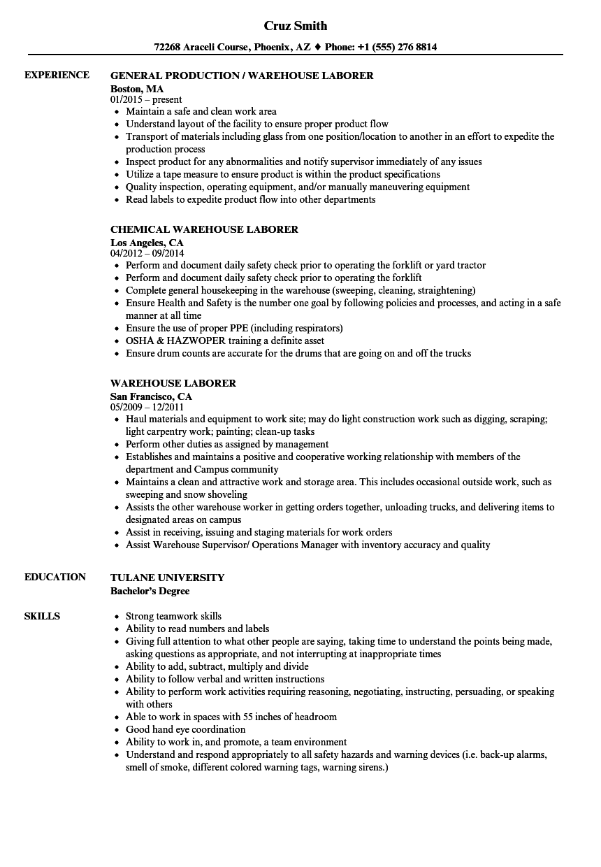 Warehouse Laborer Resume Samples | Velvet Jobs