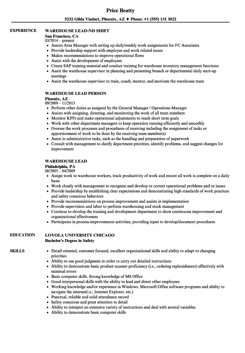 Warehouse Lead Resume Samples Velvet Jobs