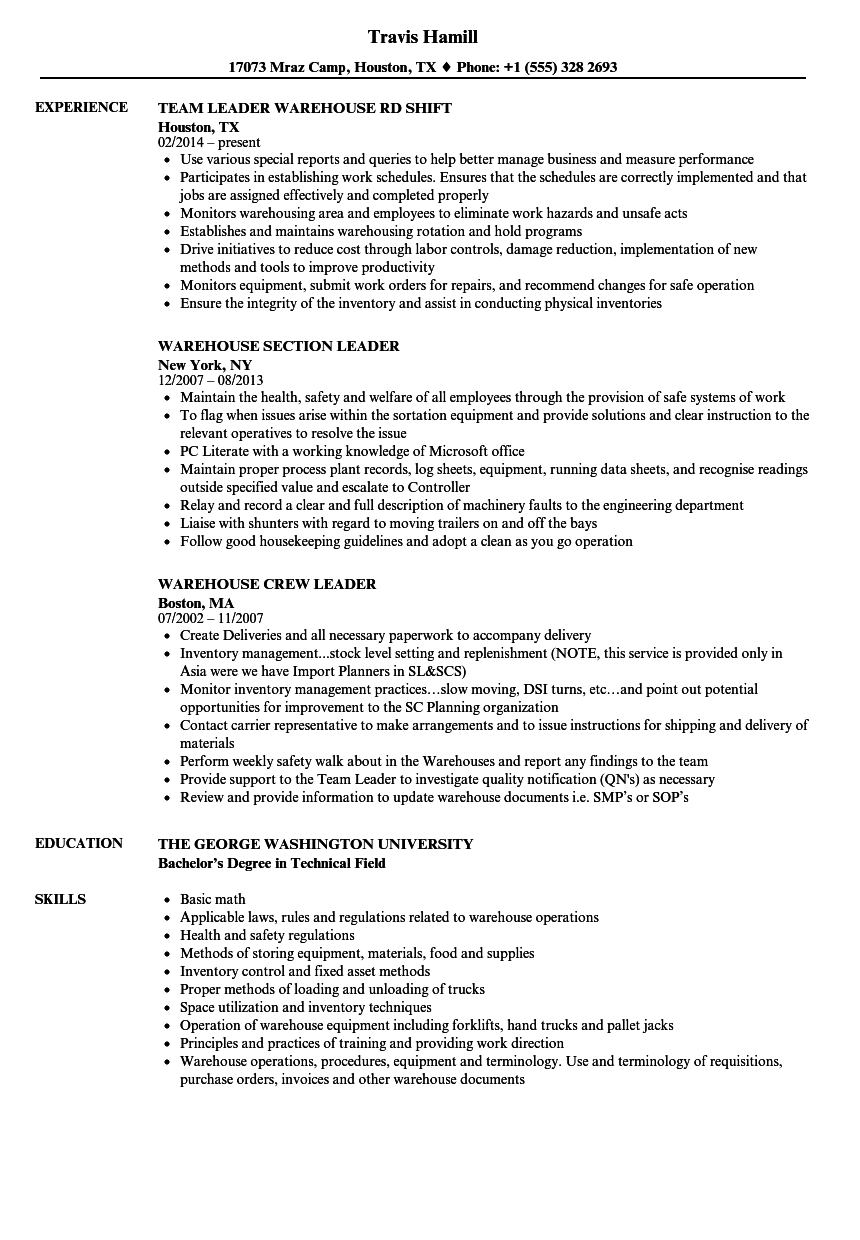 Warehouse, Leader Resume Samples | Velvet Jobs