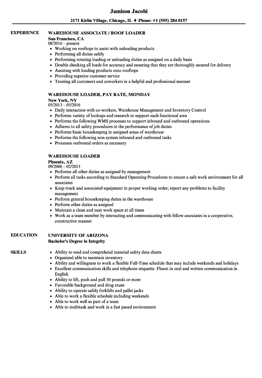 Warehouse Loader Resume Samples | Velvet Jobs