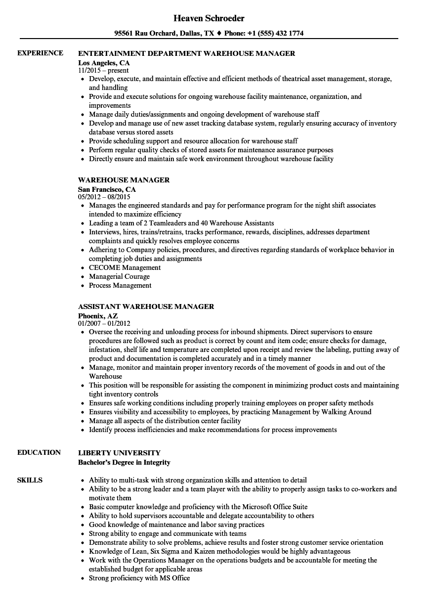 warehouse manager resume samples velvet jobs