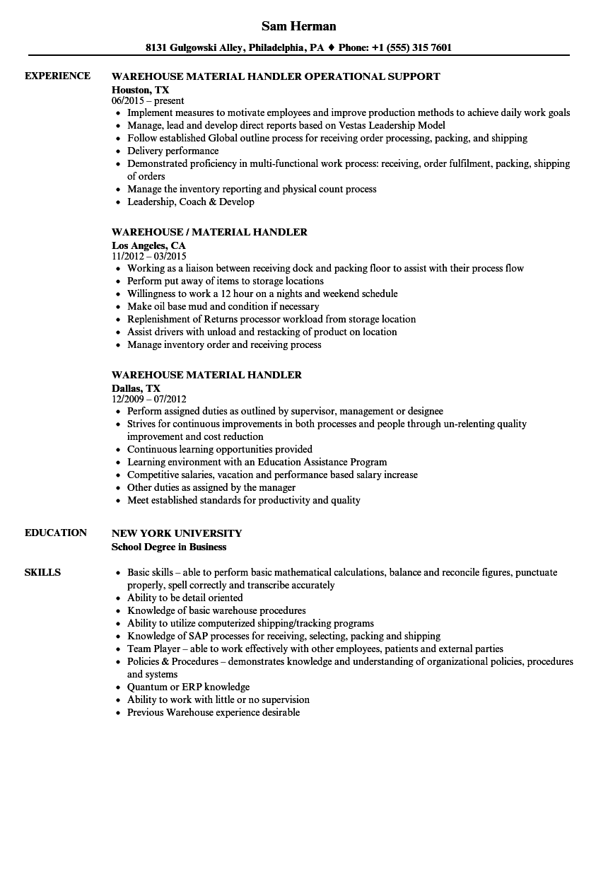 Warehouse Material Handler Resume Samples | Velvet Jobs