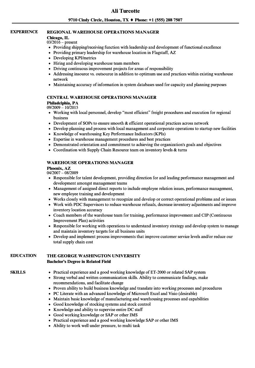 warehouse operations manager resume samples
