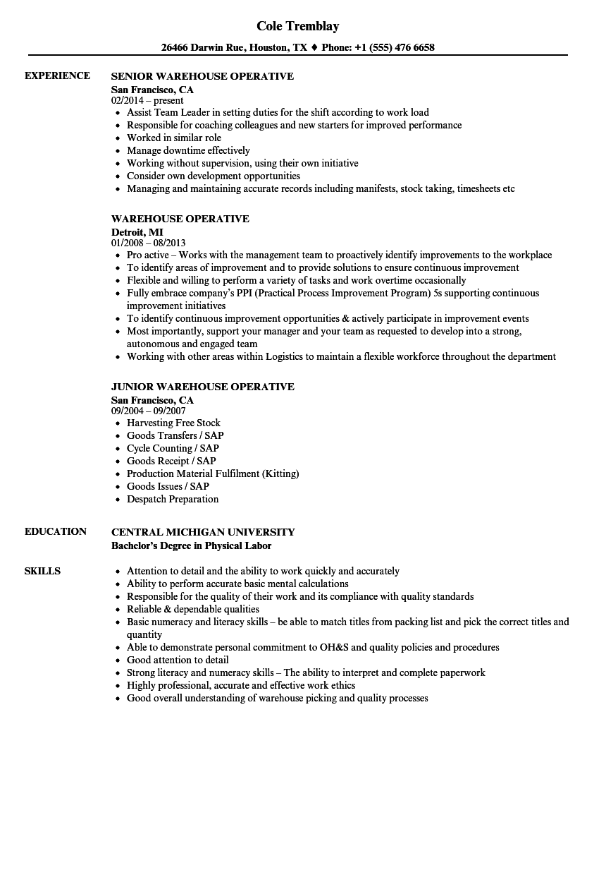 Warehouse Operative Resume Samples | Velvet Jobs