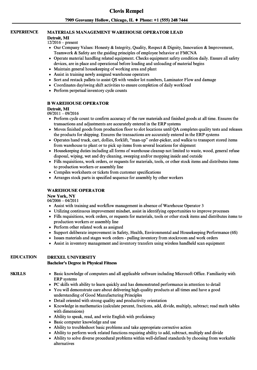 warehouse operator resume samples