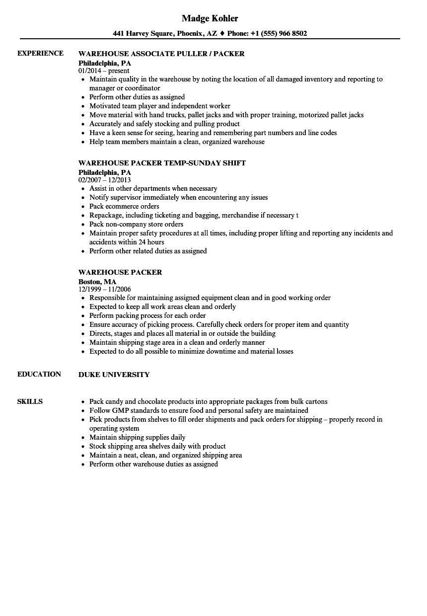 warehouse packer resume samples