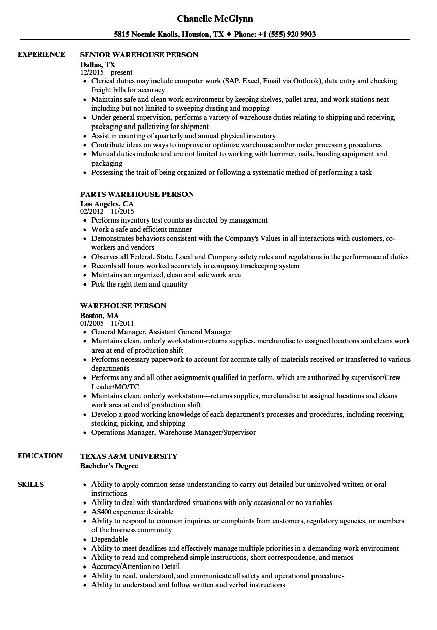 warehouse person resume samples
