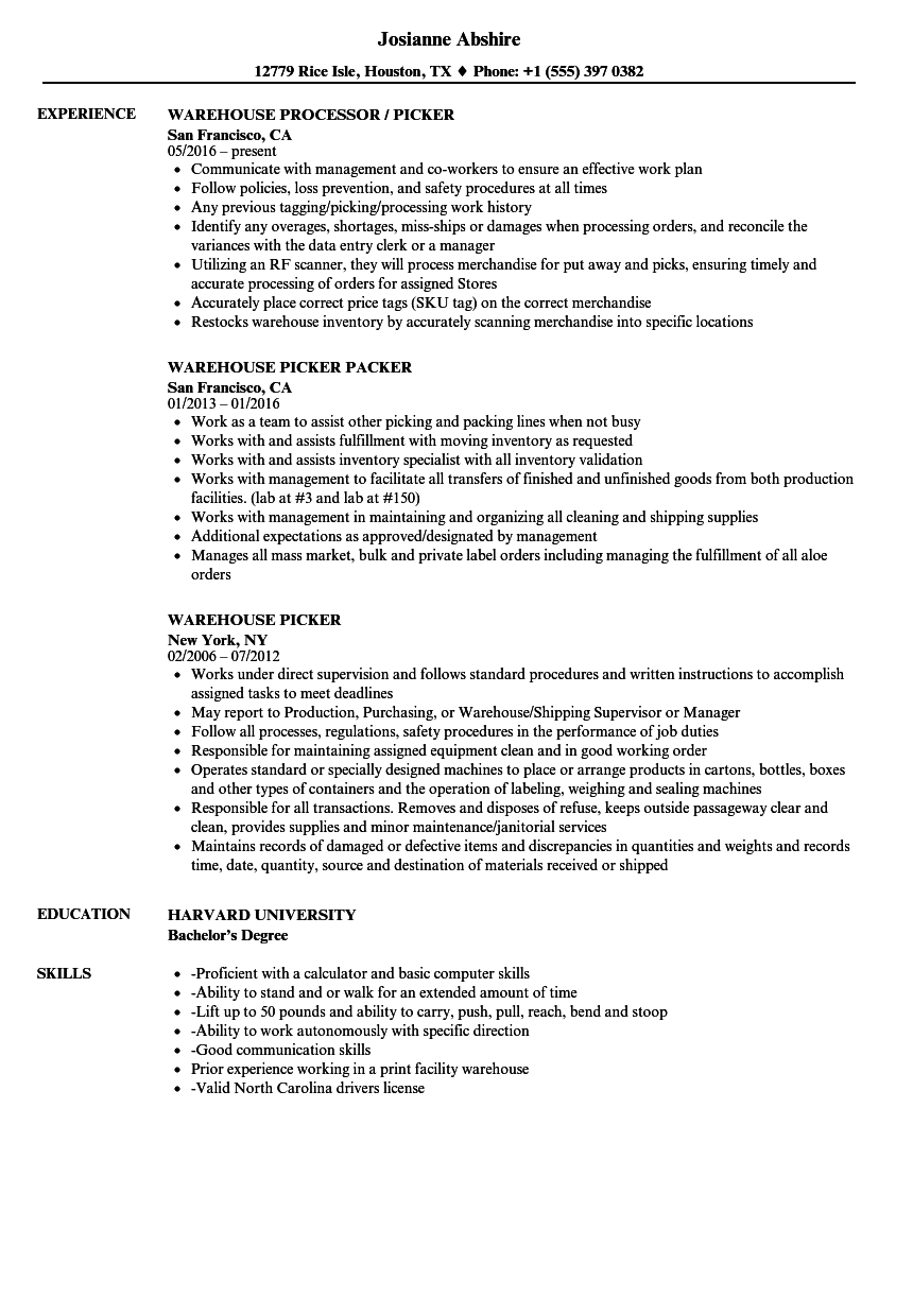 Warehouse Picker Resume Samples Velvet Jobs