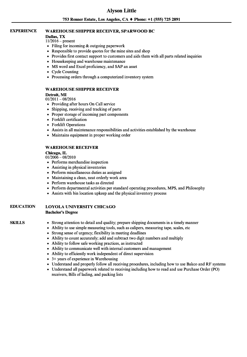Warehouse Receiver Resume Samples | Velvet Jobs