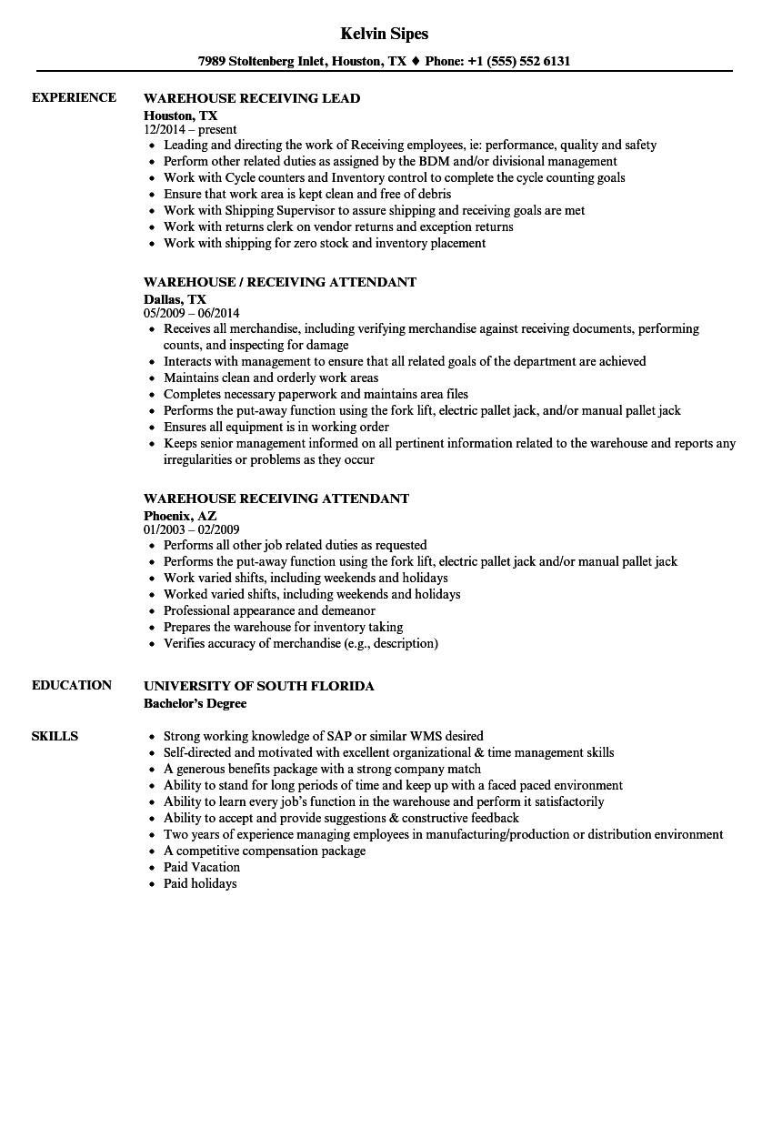 Download Warehouse Receiving Resume Sample As Image File