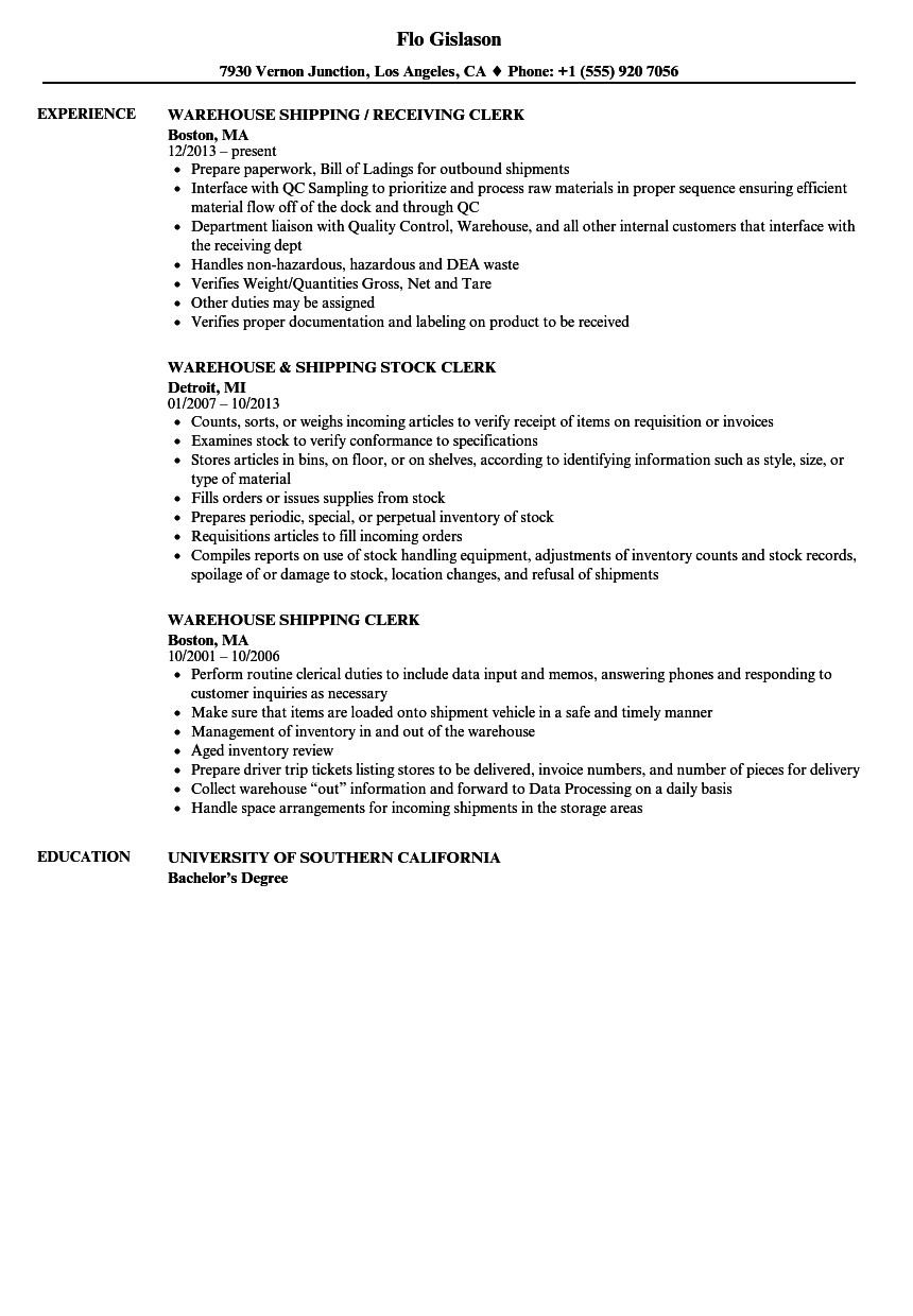 warehouse shipping clerk resume samples