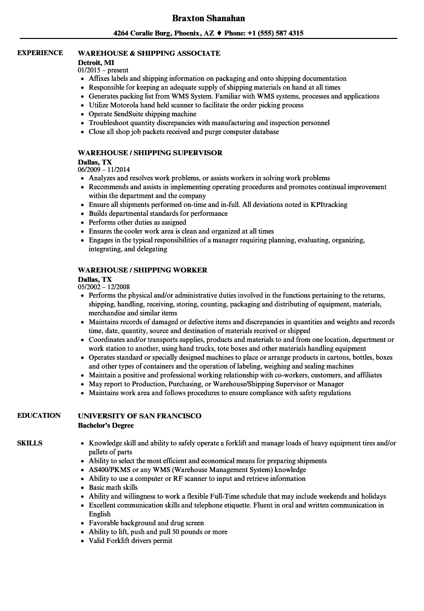 Download Warehouse Shipping Resume Sample As Image File