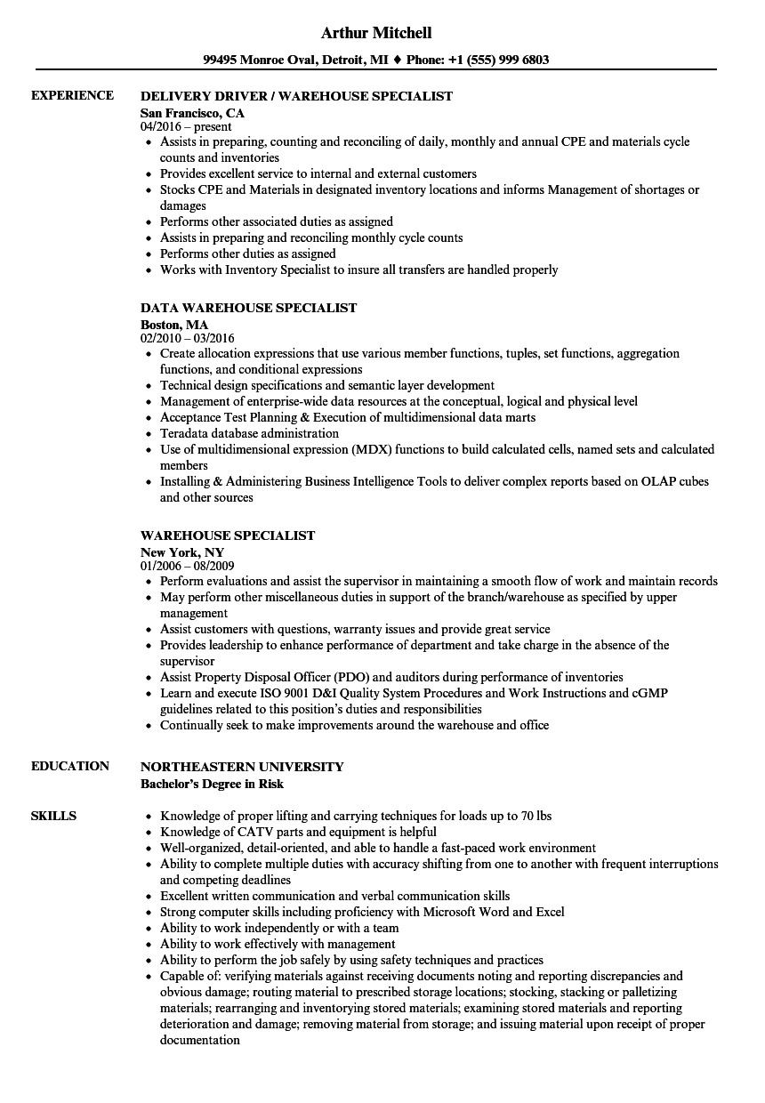 download warehouse specialist resume sample as image file - Warehouse Specialist