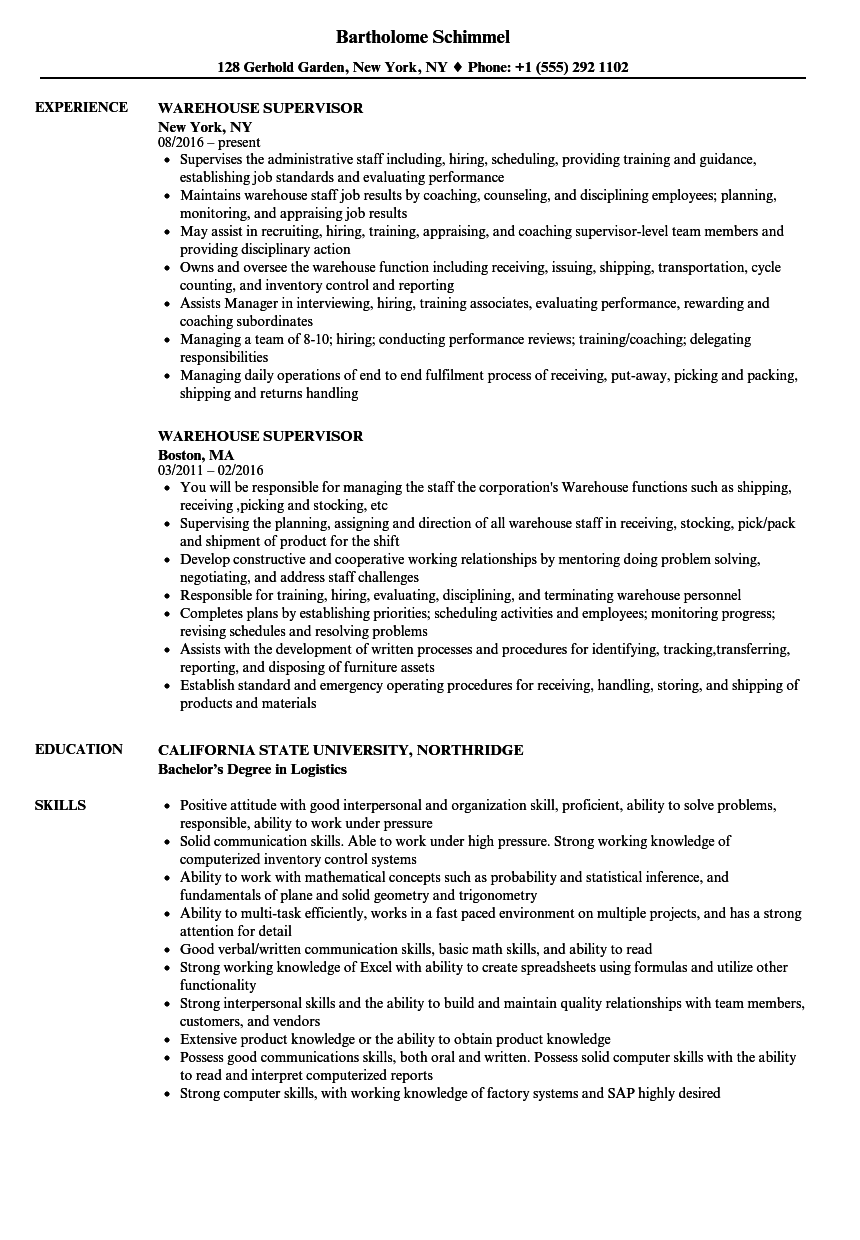 warehouse supervisor resume samples