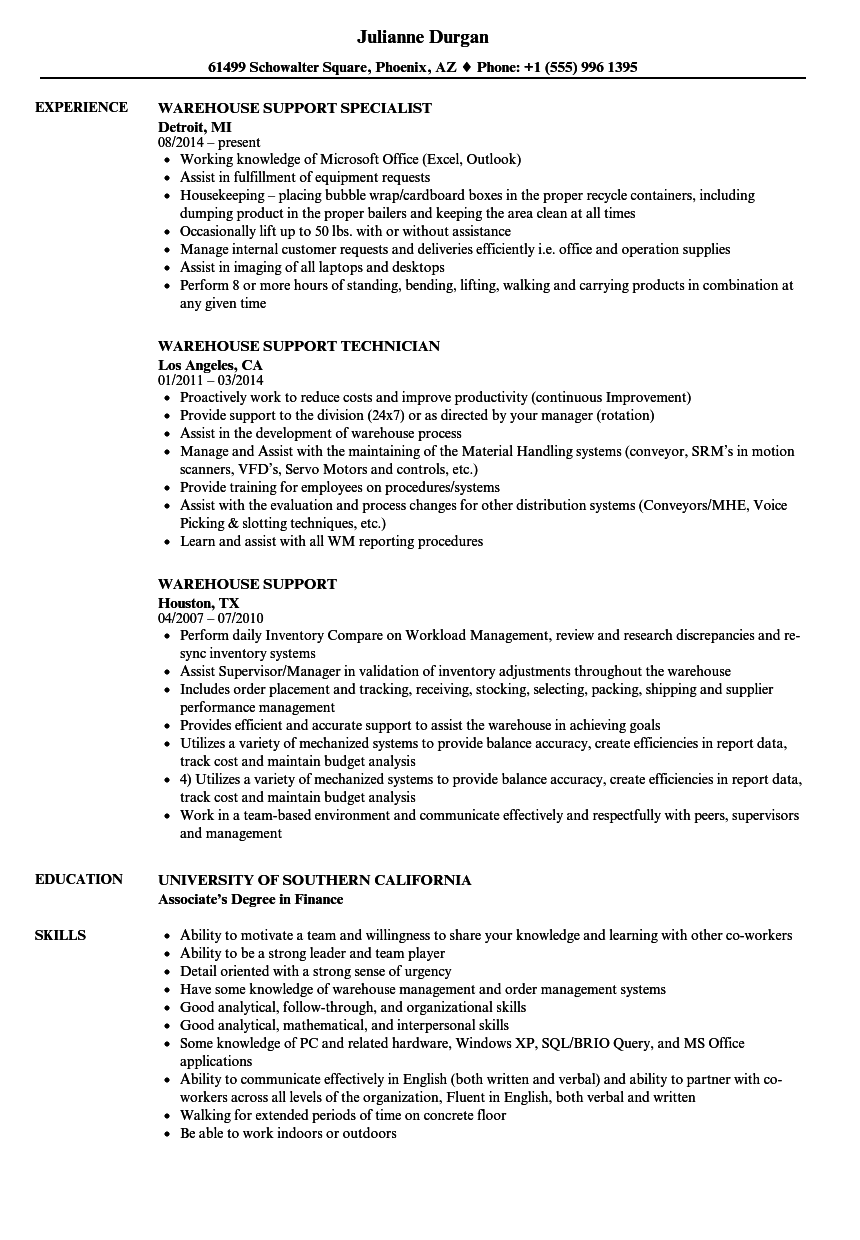 Download Warehouse Support Resume Sample As Image File  Warehouse Resume