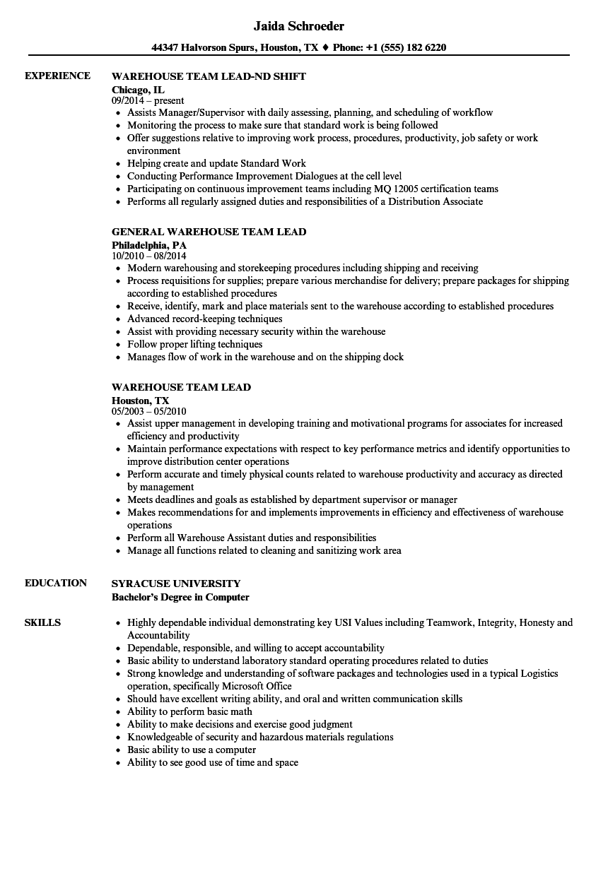 Download Warehouse Team Lead Resume Sample As Image File