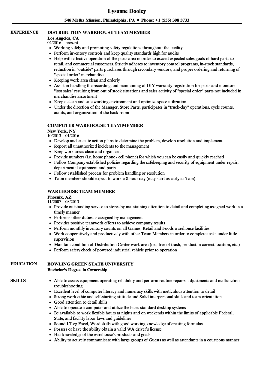warehouse team member resume samples