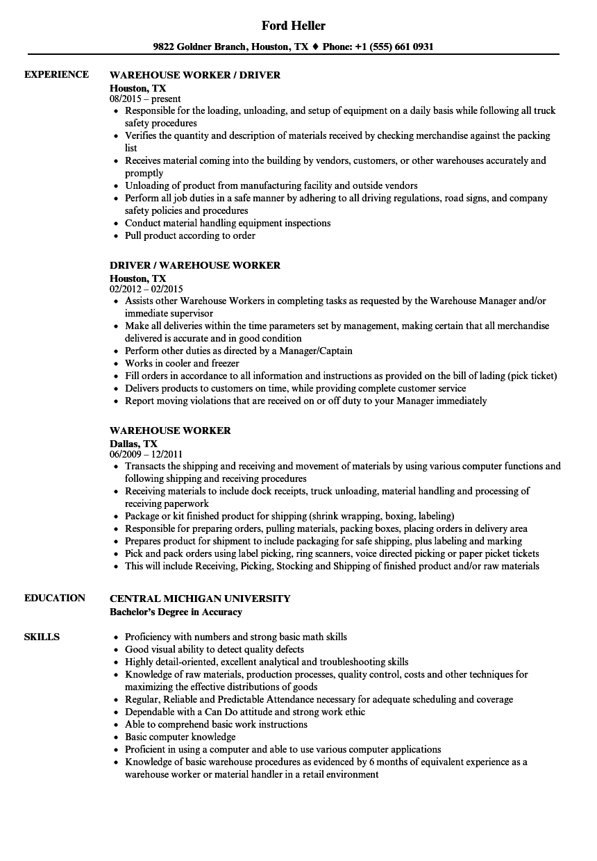 Velvet Jobs  Warehouse Worker Sample Resume