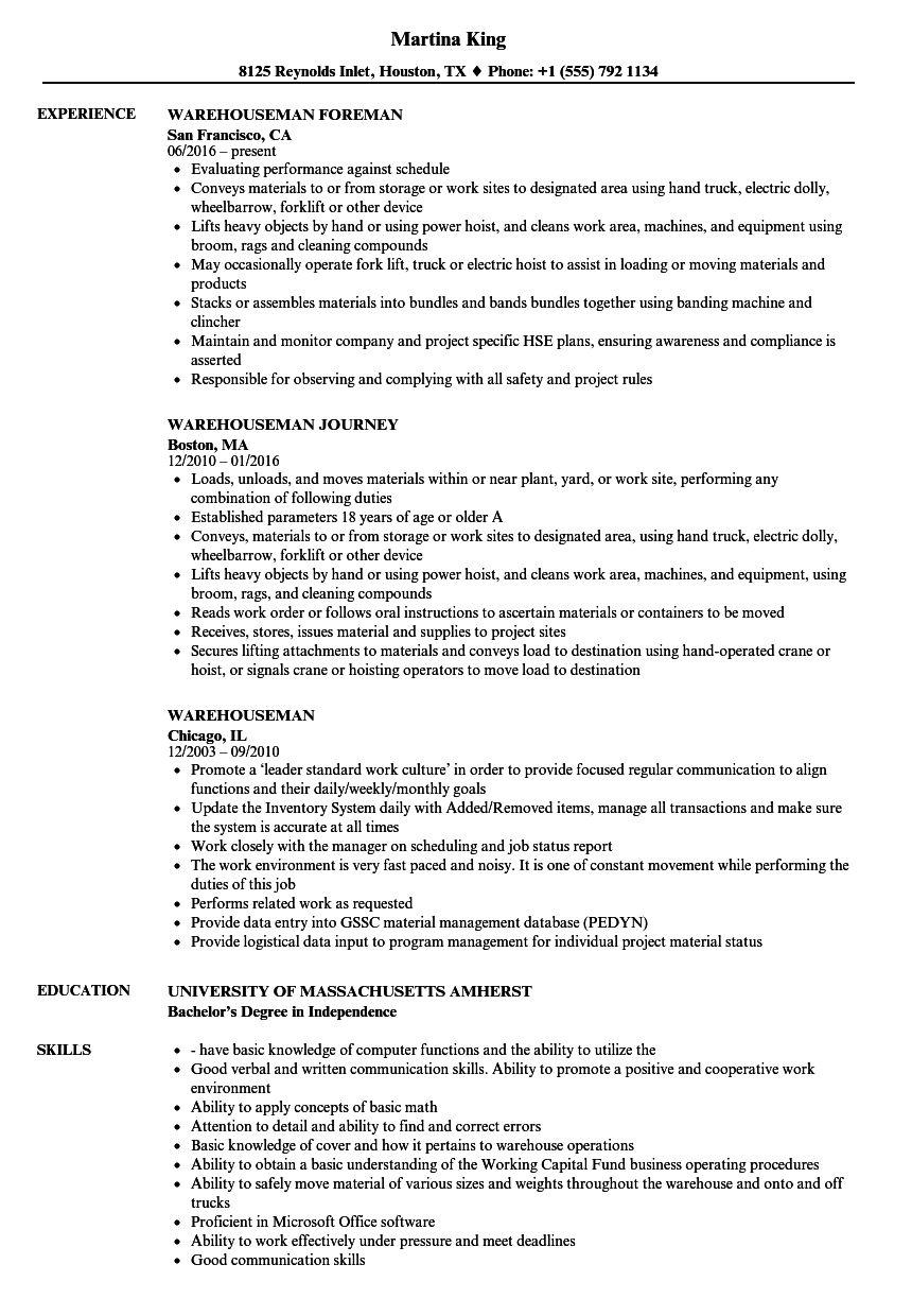 download warehouseman resume sample as image file - Resume Exampkes