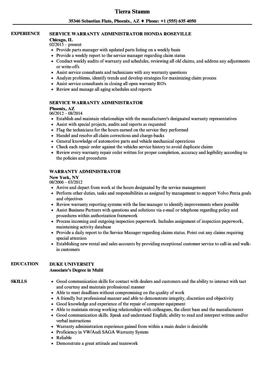 Download Warranty Administrator Resume Sample As Image File  Administrator Resume Sample