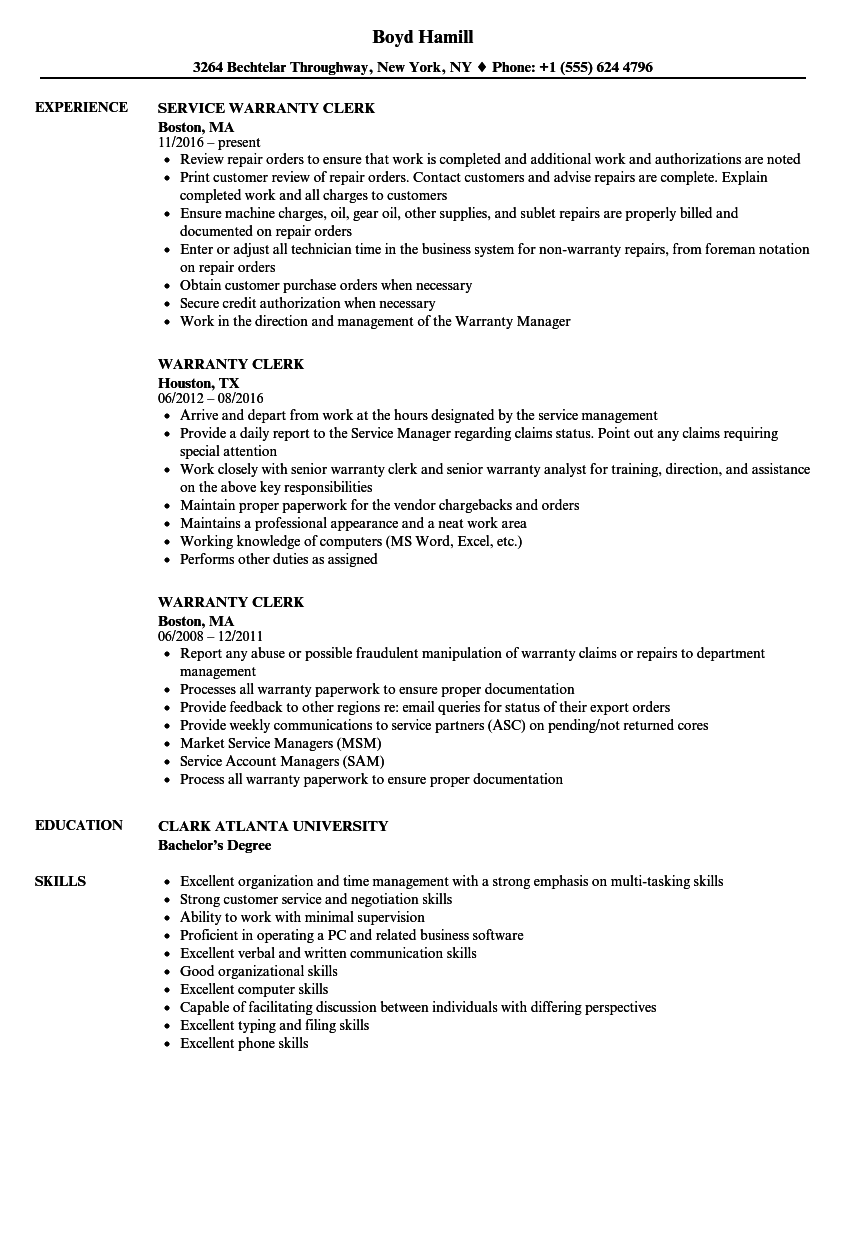 Download Warranty Clerk Resume Sample As Image File