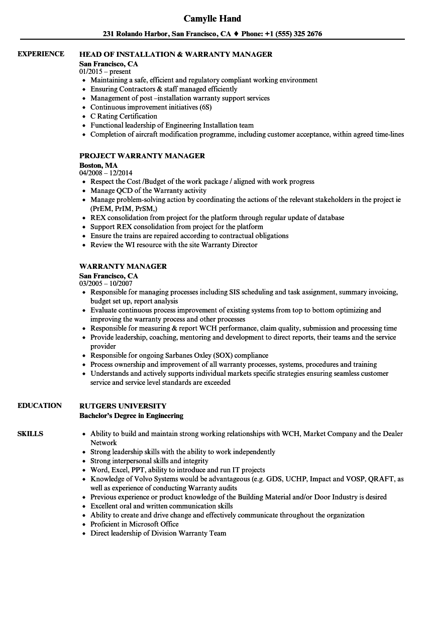Warranty Manager Resume Samples | Velvet Jobs