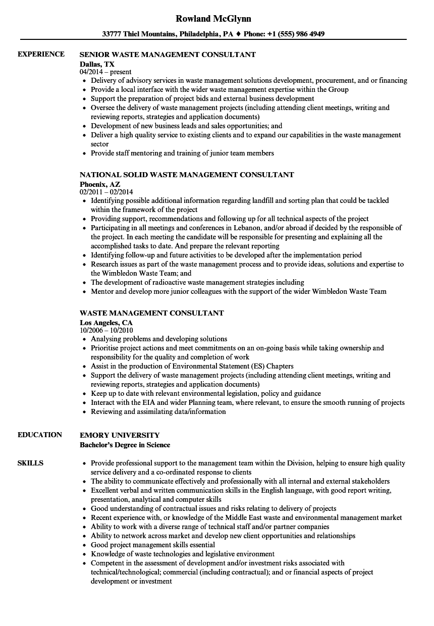 waste management consultant resume samples