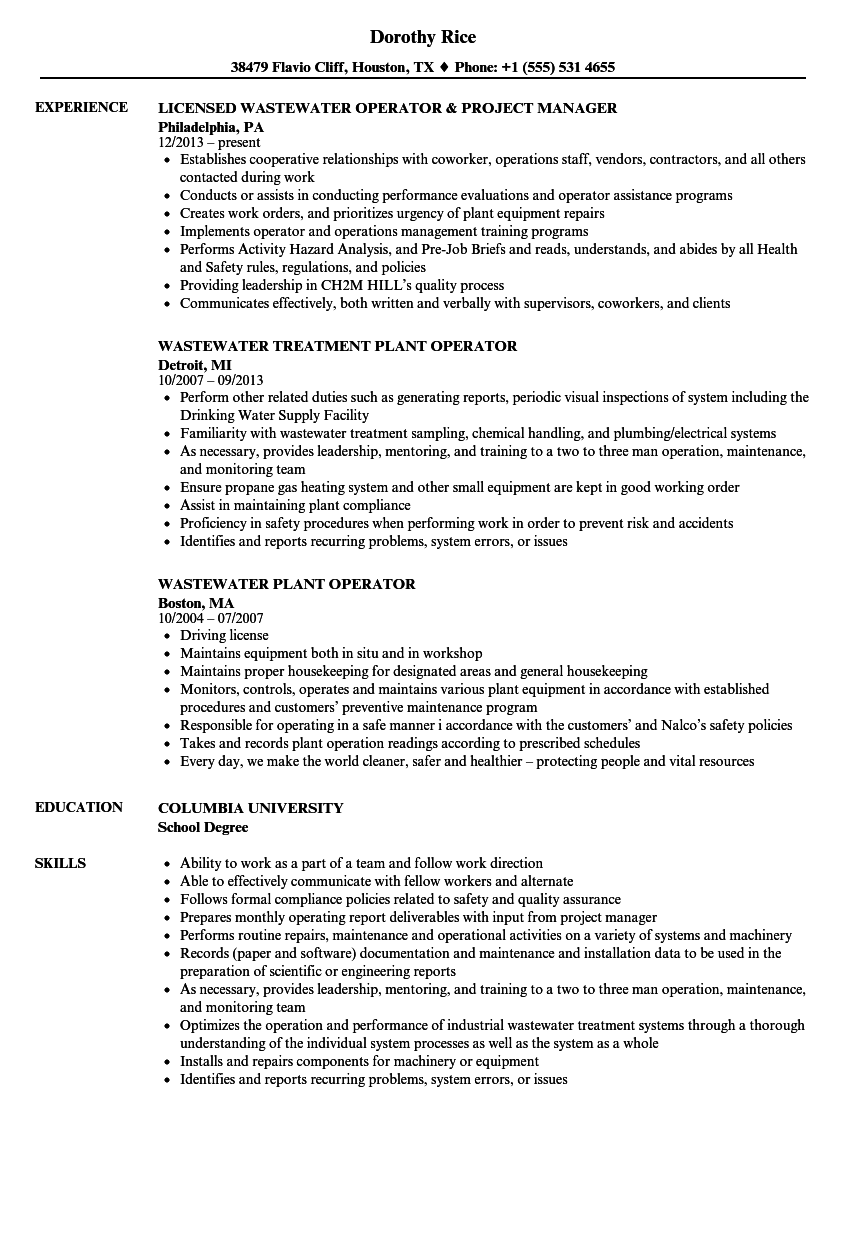 download wastewater operator resume sample as image file - Wastewater Technician Resume Sample
