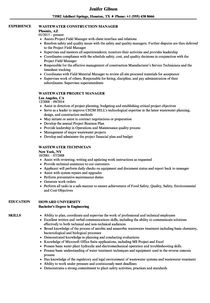 download wastewater resume sample as image file - Wastewater Technician Resume Sample