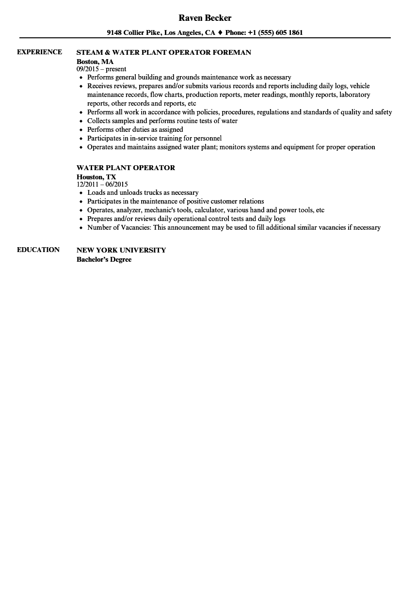 water plant operator resume samples