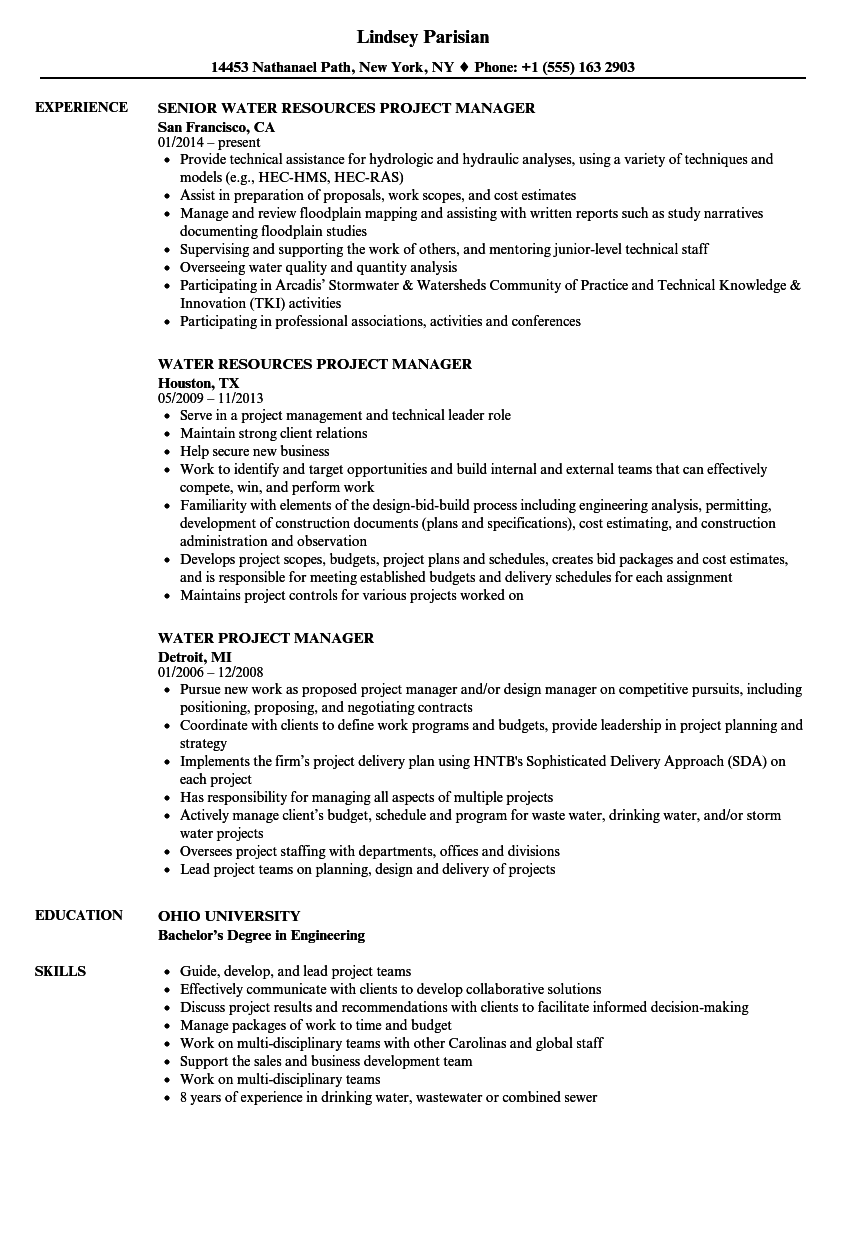 water project manager resume samples