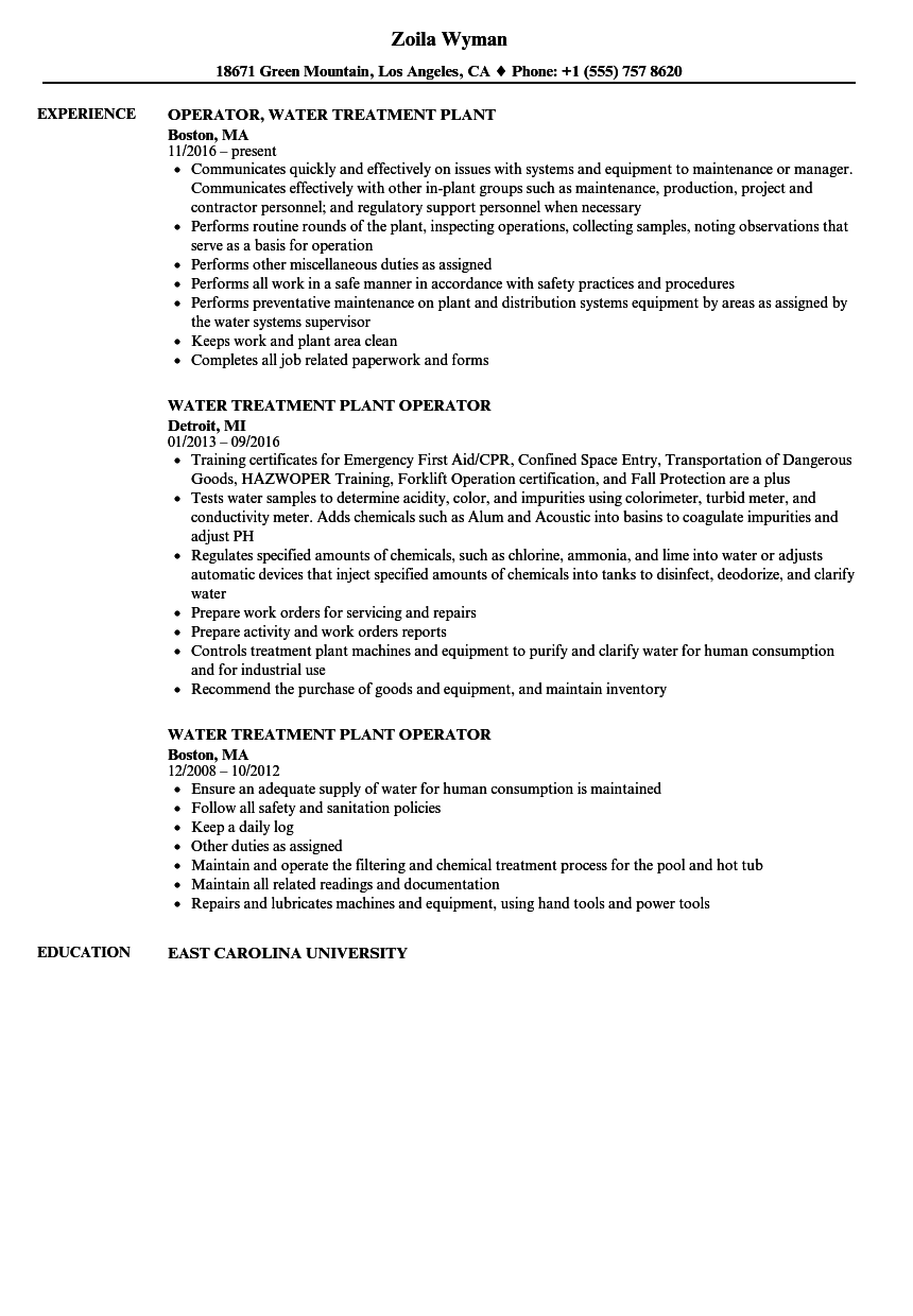 Download Water Treatment Plant Operator Resume Sample As Image File