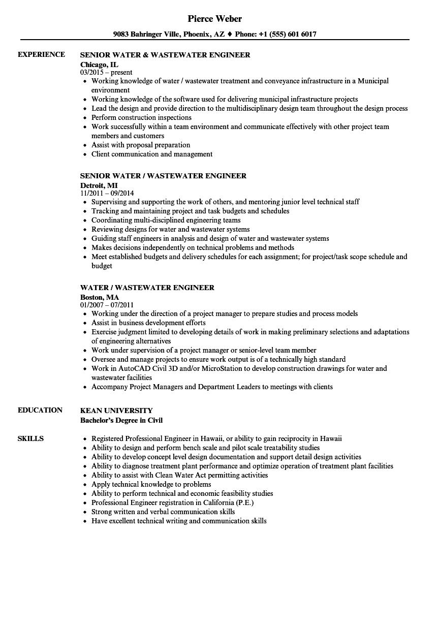 Water / Wastewater Engineer Resume Samples | Velvet Jobs