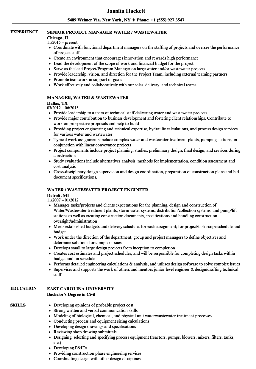 Water / Wastewater Resume Samples | Velvet Jobs