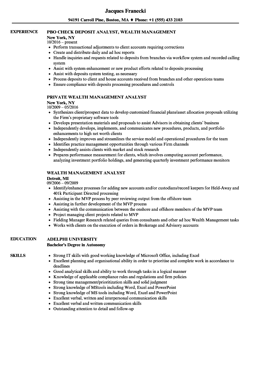 wealth management analyst resume samples