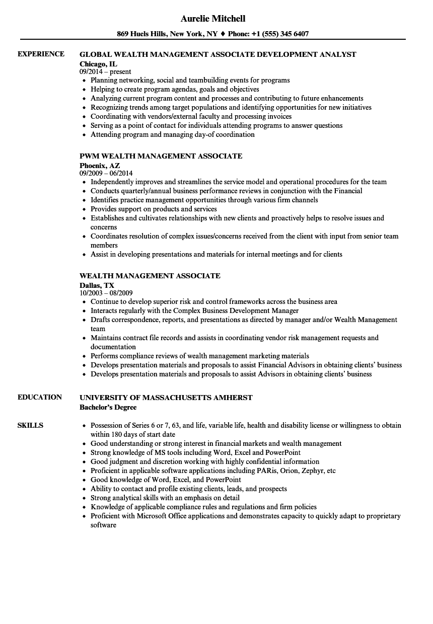 wealth management associate resume samples