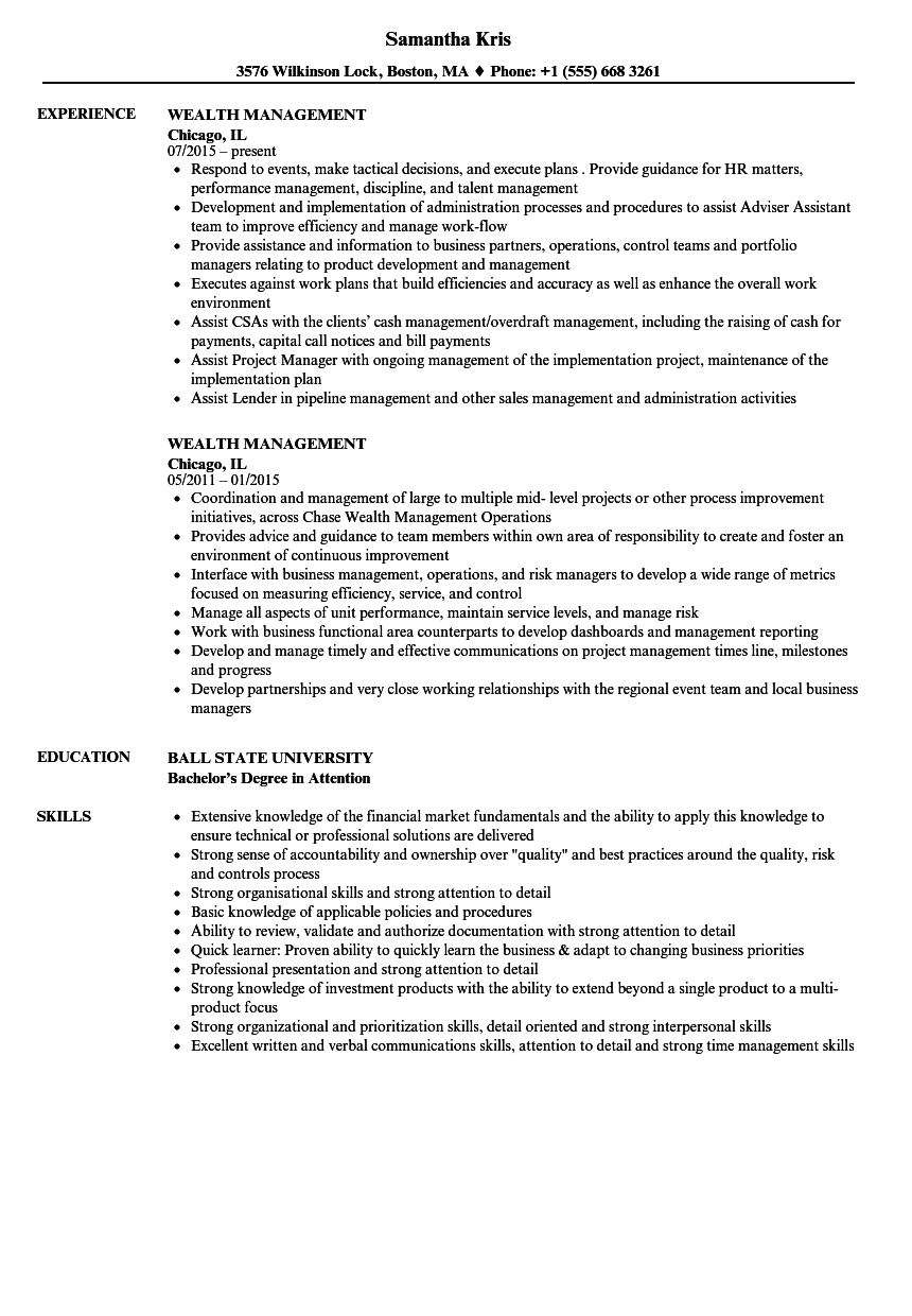wealth management resume samples