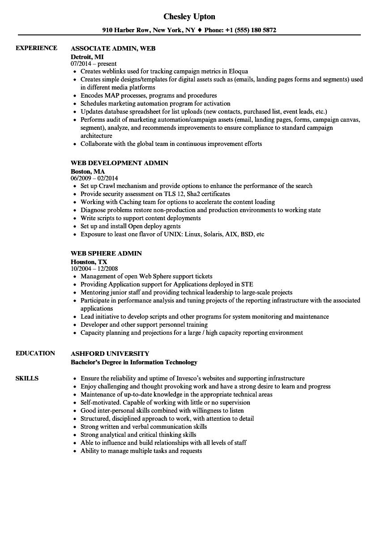 Web Admin Resume Samples | Velvet Jobs