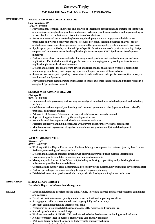 Web Administrator Resume Samples | Velvet Jobs